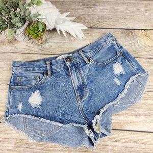 Bullhead High Rise Jean Shorts Cut Off Sz 3 Pacsun